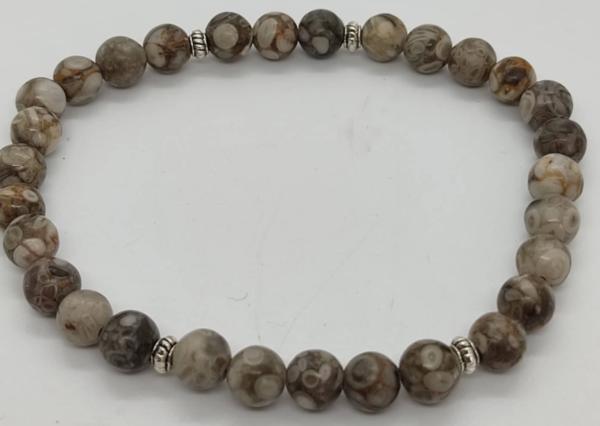 bracelet pierre lithothérapie agate turitelle agate fossile prospérité réussite argent