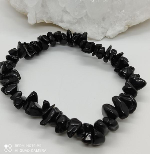 bracelet pierre lithothérapie onyx agate noir équilibre addiction