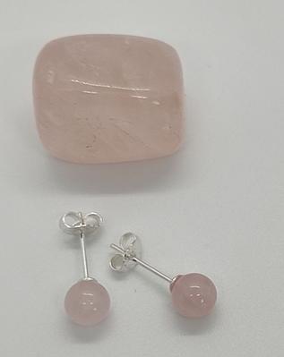 boucles oreilles puce pierre naturelle lithothérapie quartz rose
