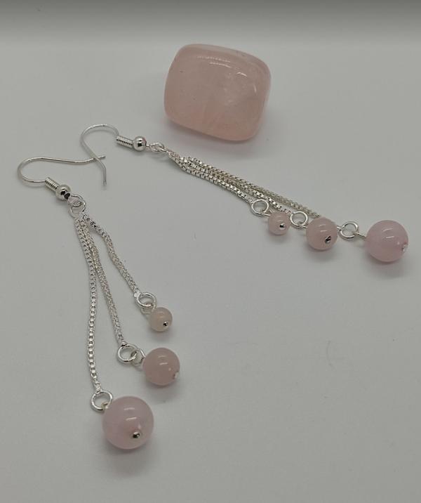 Boucles oreilles pendantes quartz rose pierre naturelle lithothérapie amour