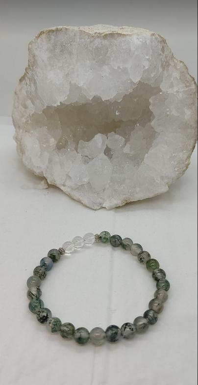 bracelet pierre naturelle agate mousse