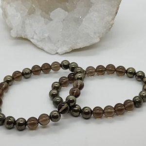 bracelet pierre lithothérapie quartz fumé pyrite
