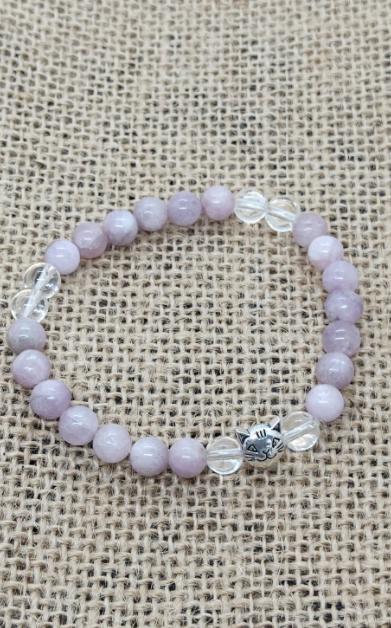 kunzite chat cristal de roche bracelet